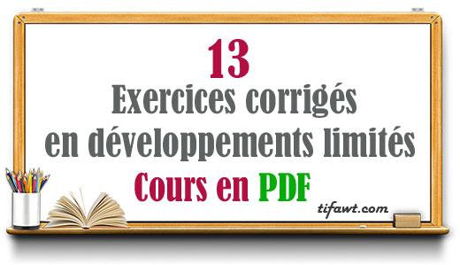 Exercices corrigés en développements limités