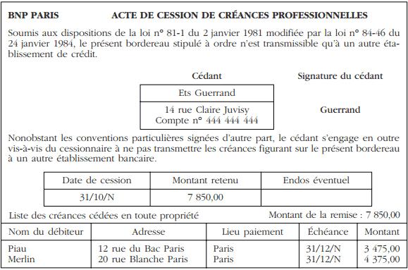 ACTE DE CESSION DE CRÉANCES PROFESSIONNELLES