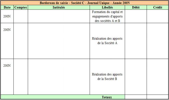 Bordereau de saisie – Société C – Opérations de constitution