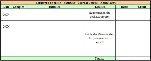 Bordereau de saisie – Société B - Journal Unique