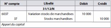 comptabilisation variation des stocks