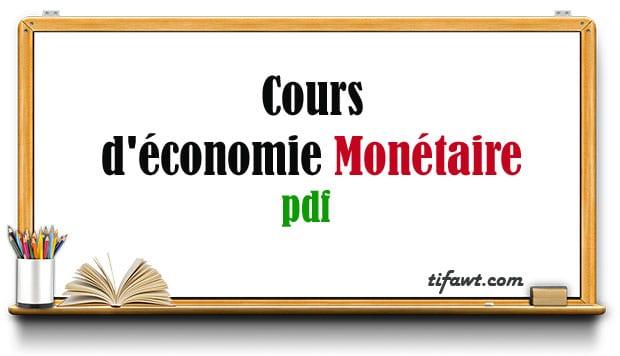 cours d'économie monétaire en pdf
