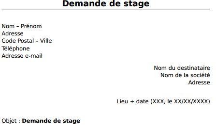 Télécharger Un Exemple De Lettre De Demande De Stage En Pdf