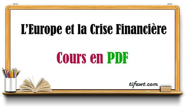 europe et crise financière
