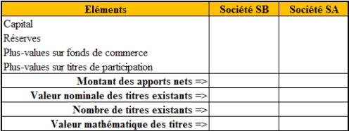 Tableau d'évaluation des capitaux propres (à compléter)