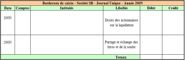 Bordereau de saisie – Société SB – Opérations de dissolution (à compléter)