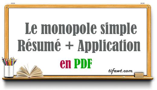Le monopole simple: Résumé + Application
