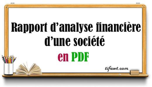 Rapport d'analyse financière d'une société
